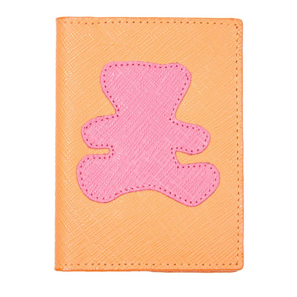 Porta-Passaporte-Infantil-Tangerina-com-Urso-Pink-Prada