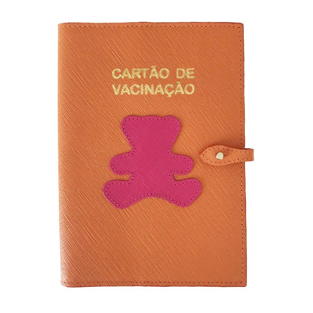Porta-Cartao-de-Vacina-Little-Bear-Tangerina-com-Pink-Prada