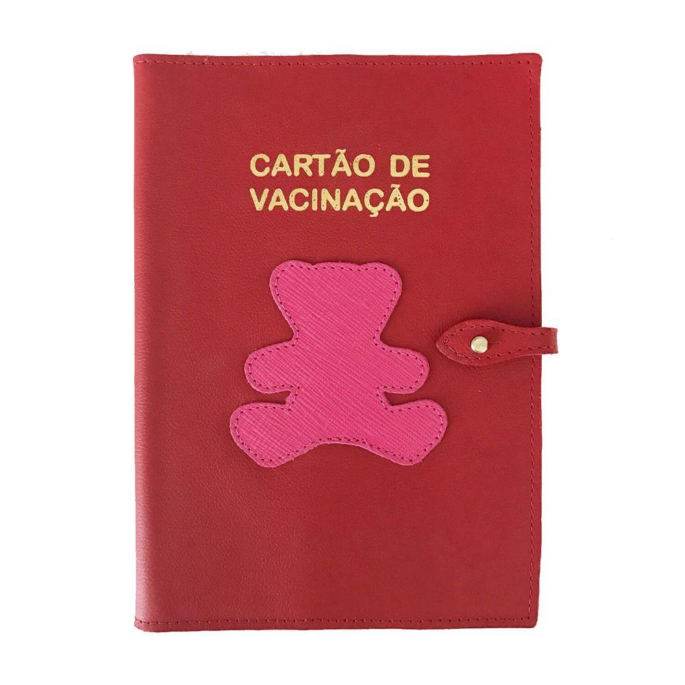 Porta-Cartao-de-Vacina-Little-Bear-Vermelho-Safiano-com-Pink-Prada