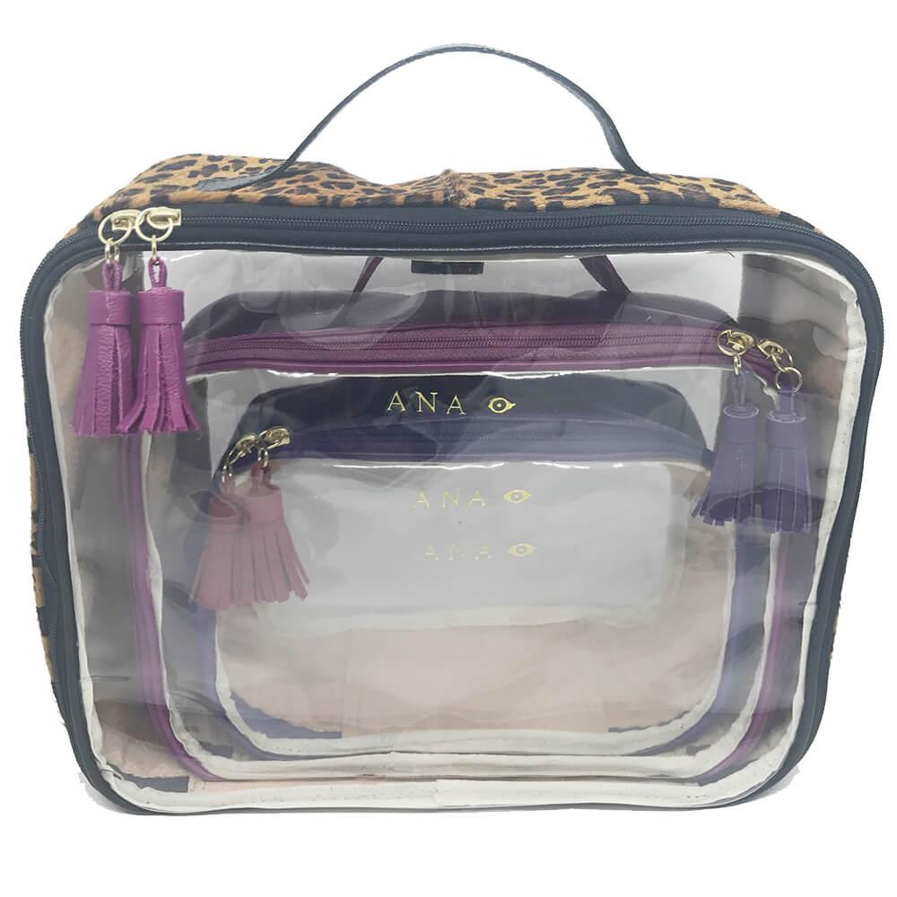 Kit-Necessaire-Crystal-Onca-com-Fucsia-e-Purple