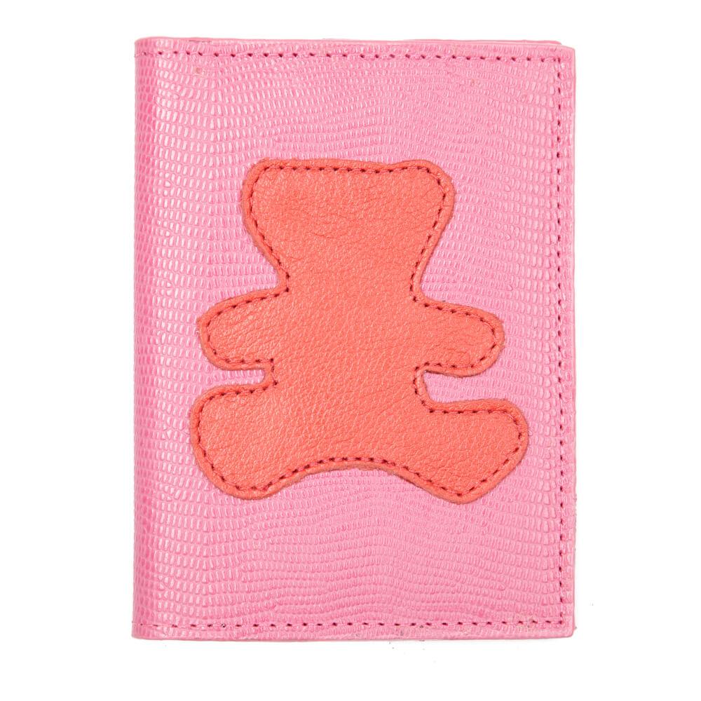 Porta-Passaporte-Infantil-Pink-Lesarzinho-com-Urso-Vermelho