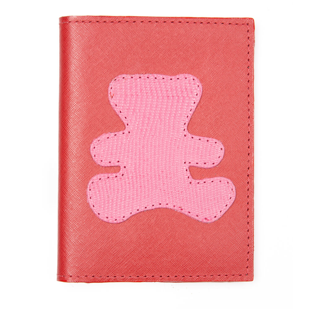 Porta-Passaporte-Infantil-Vermelho-Safiano-com-Urso-Pink-Lesarzinho