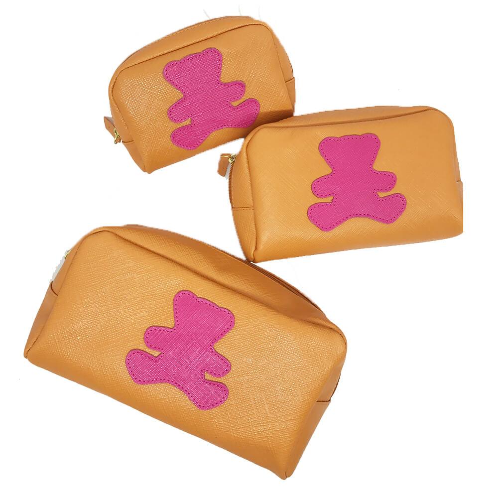 Kit-Necessaire-Little-Bear-Tangerina-com-Pink-Prada
