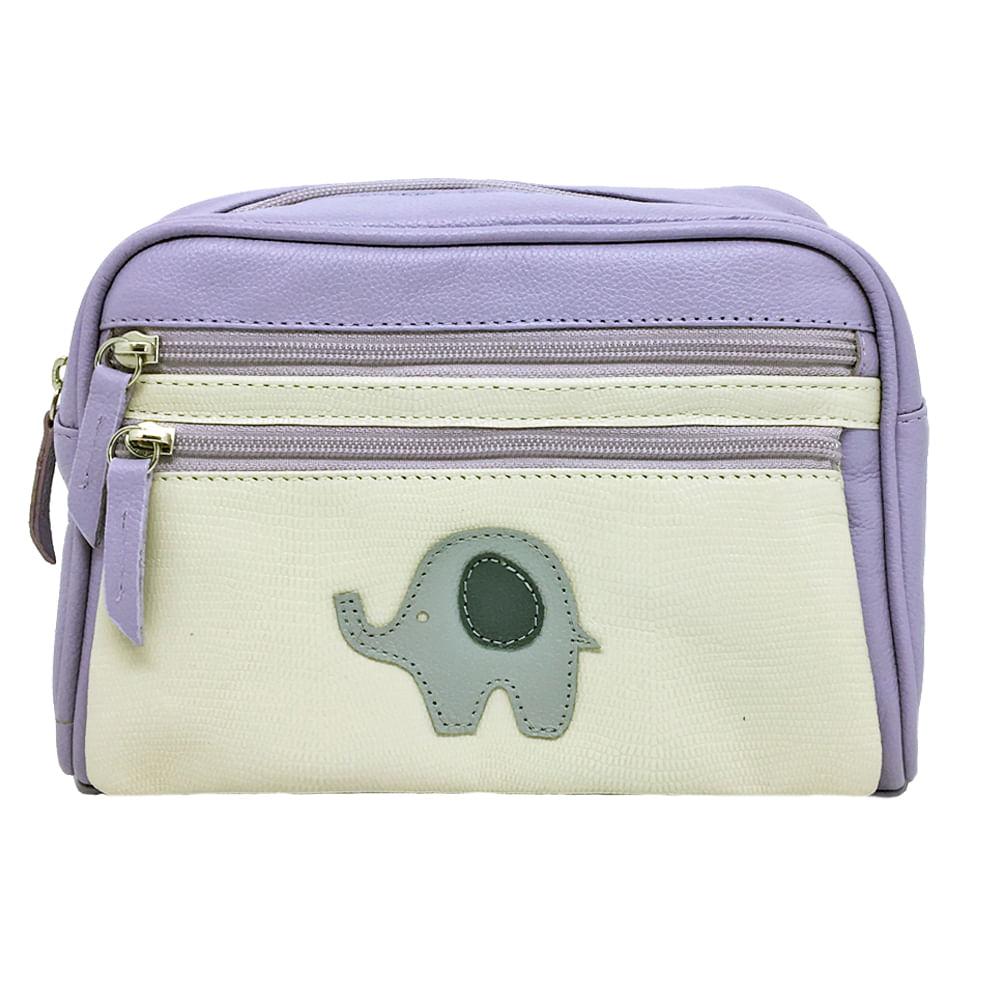 Necessaire-Little-Elephant-Lilas-Liso-com-Off-White-Lesarzinho