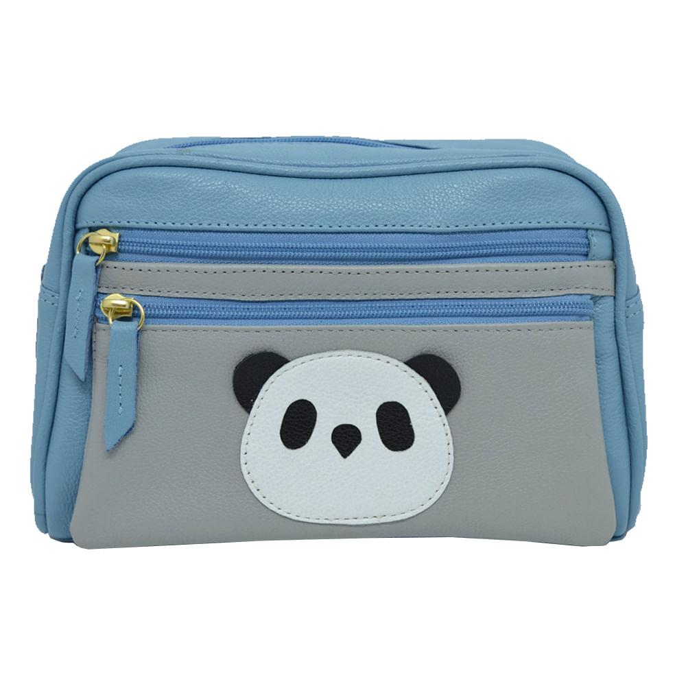 Necessaire-Little-Panda-Aqua-Liso-com-Cinza-Claro-Liso