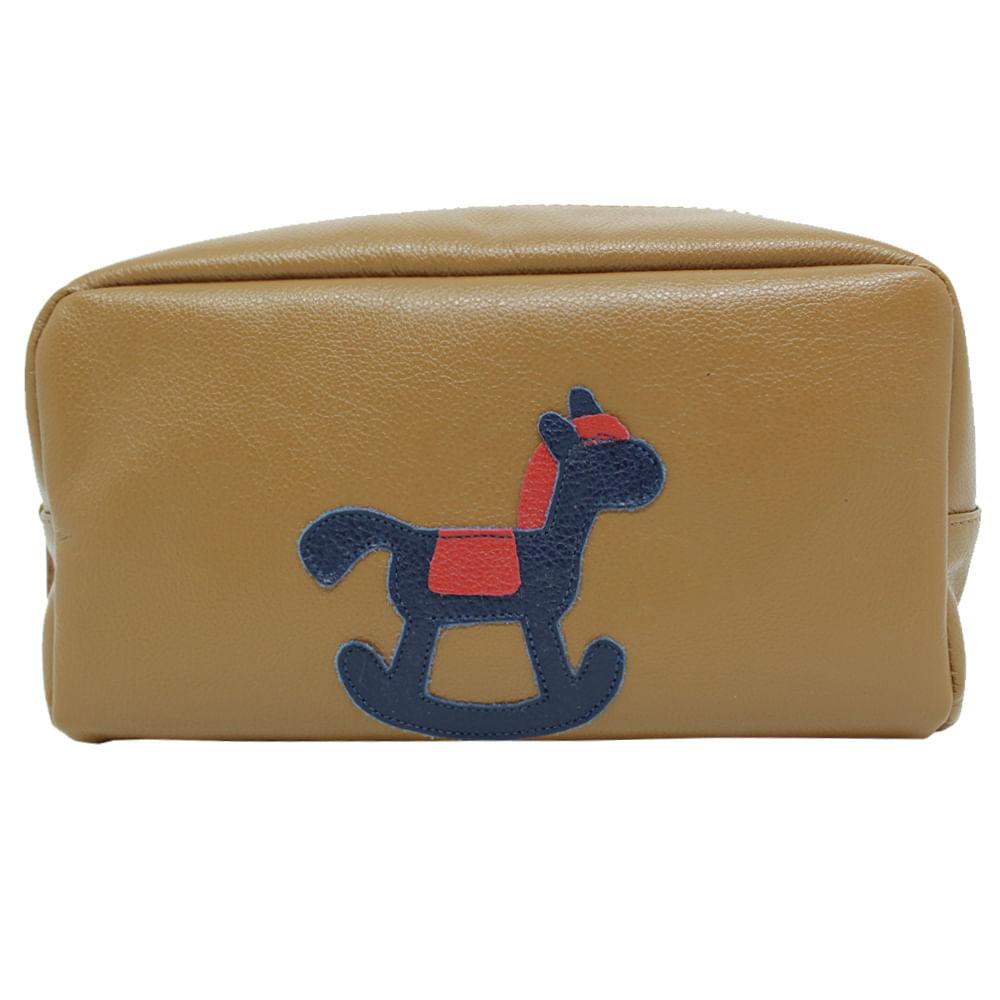 Necessaire-Little-Horse-G-Caramelo-Liso-com-Marinho-Liso-e-Vermelho-Liso