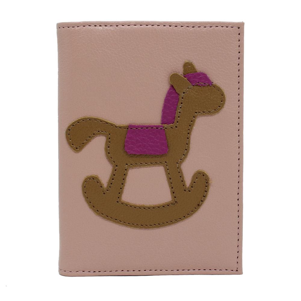 Porta-Passaporte-Little-Horse-Algodao-Doce-Liso-com-Caramelo-Liso-e-Fucsia-Liso