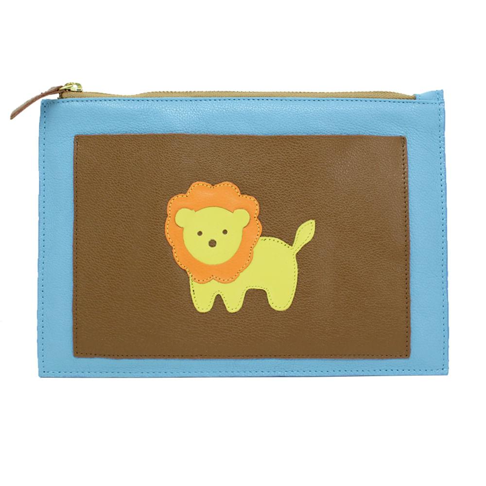 Porta-Documento-Little-Lion-Aqua-Liso-com-Caramelo-Liso