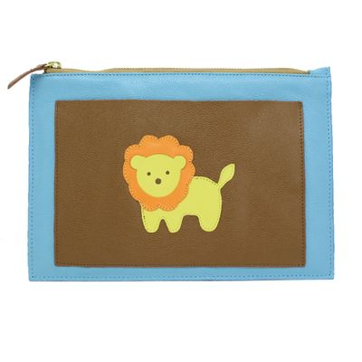 Porta-Documento-Little-Lion-Aqua-Liso-com-Caramelo-Liso