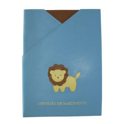merci-with-love-porta-certidao-de-nascimento-little-lion-aqua-liso-frente