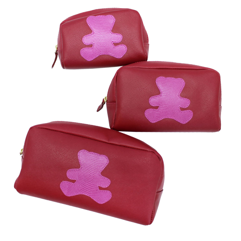 merci-with-love-kit-necessaire-little-bear-vermelho-safiano-com-pink-lesarzinho