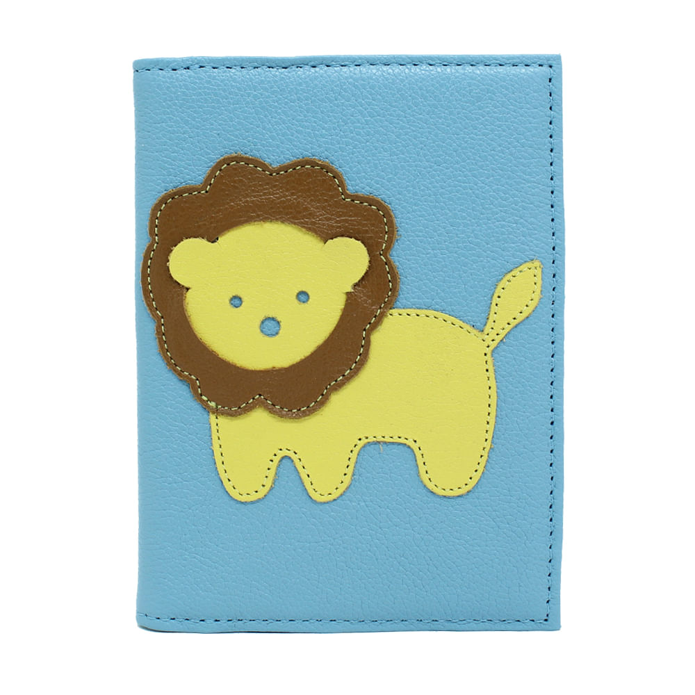 merci-with-love-porta-passaporte-little-lion-aqua-liso-frente