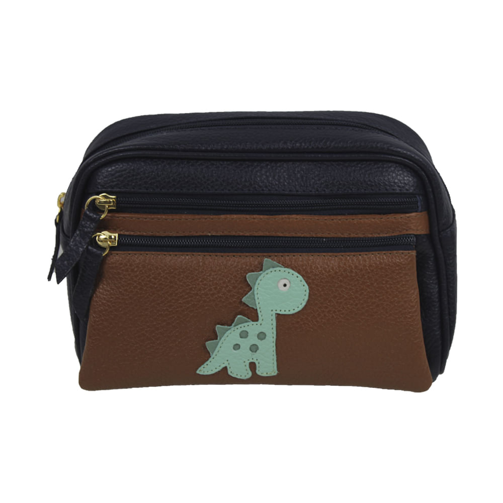 merci-with-love-necessaire-little-dino-marinho-caramelo-frente