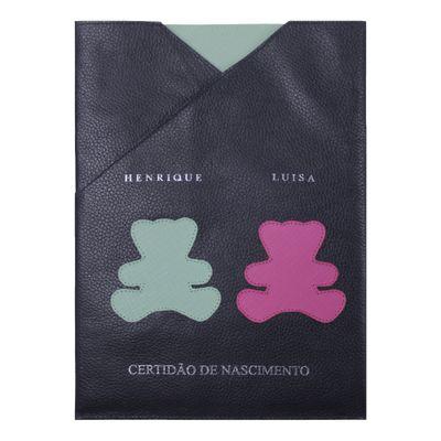 merci-with-love-porta-certidao-nascimento-little-bear-twins-marinho-menta-prada-pink-prada-frente